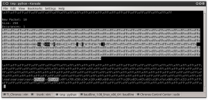 Figure 0x16- SyncWord Search In Data Output by grc_bit_conveter.py